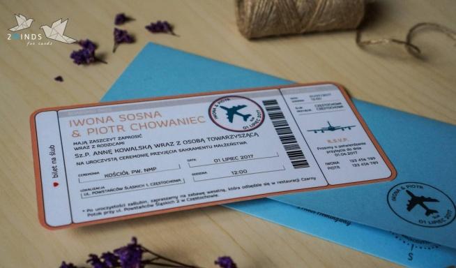 Kolekcja Bilet Lotniczy Na Zaproszenia ślubne 2minds Zszywkapl