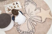 Dywan do prania w pralce dla dzieci LORENA CANALS MOTYL Butterfly Nude