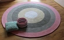 Dywan ze sznurka bawełnianego Pastelowe kolory, ręcznie robiony 160cm średnicy
