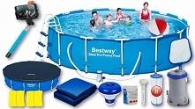 Basen ogrodowy stelażowy firmy Bestway, przeznaczony jest dla całej rodziny. ...