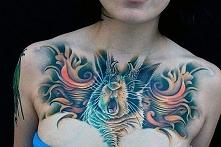 women 3d chest tattoo