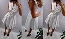Sukienka biala (dłuższy tyl) zapinana na dwa guziki S\M 119 zł
