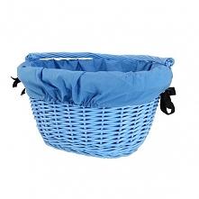 Wiklinowy kosz na rower błękitny z  niebieskim obszyciem