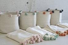 Kosze do przechowywania, bawełniane w stylu skandynawskim