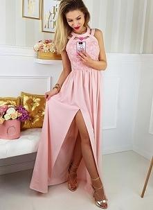 Długa suknia pudrowy róż Il...