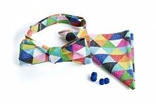 Mucha w kolorowe trójkąty - idealna dla pana młodego, na ślub, wesele i mniej...