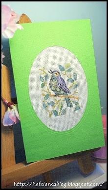 Kartka - haft krzyżykowy - ptaki