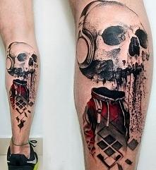 czaszka słuchawki tatuaż na...