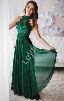 Zielona suknia na szyję z kwiatkami 3D. 289zł lejdi.pl