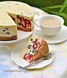 *** BEZ PIECZENIA ***  Sernik z białą czekoladą i owocami jagodowymi  S...