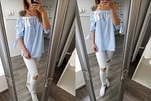 piękna hiszpanka w biało niebieskie paski z białymi spodniami...idealny zestaw *.*