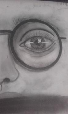 Oko narysowane na biurku z nudów ^^