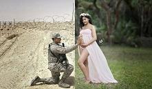 Mąż-żołnierz nie mógł uczestniczyć w sesji ciążowej. Oto jak poradzila sobie z tym jego żona :)
