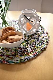 Podkładka z papierowej wikliny na stół w domowej pracowni na miarę :) Biała M...