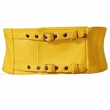 Żółty, gorsetowy pasek skórzany, do zakupienia w butiku Łatka fashion.