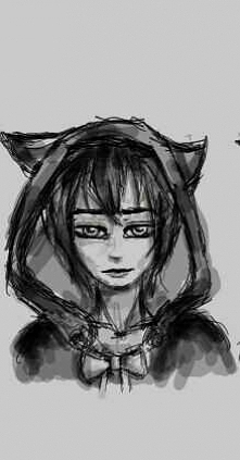 Próbowałam narysować ludzką wersję Bendy'ego z Bendy and the ink Mashine... Nie podoba mi sie rezultat... będę musiała poświęcić na to pare prób...