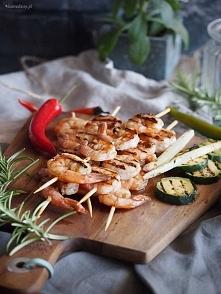 Grillowane krewetki w glazurze miodowo-piwnej / Grilled shrimp with honey-bee...
