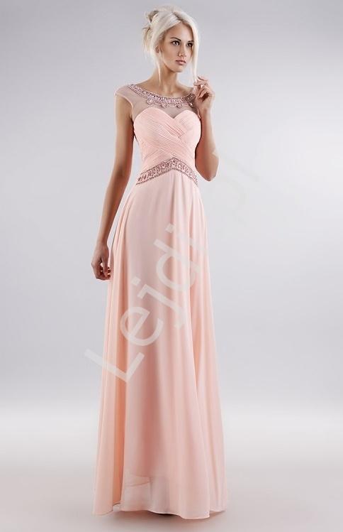 Pastelowo różowa suknia z kryształkami z drapowanym gorsetem