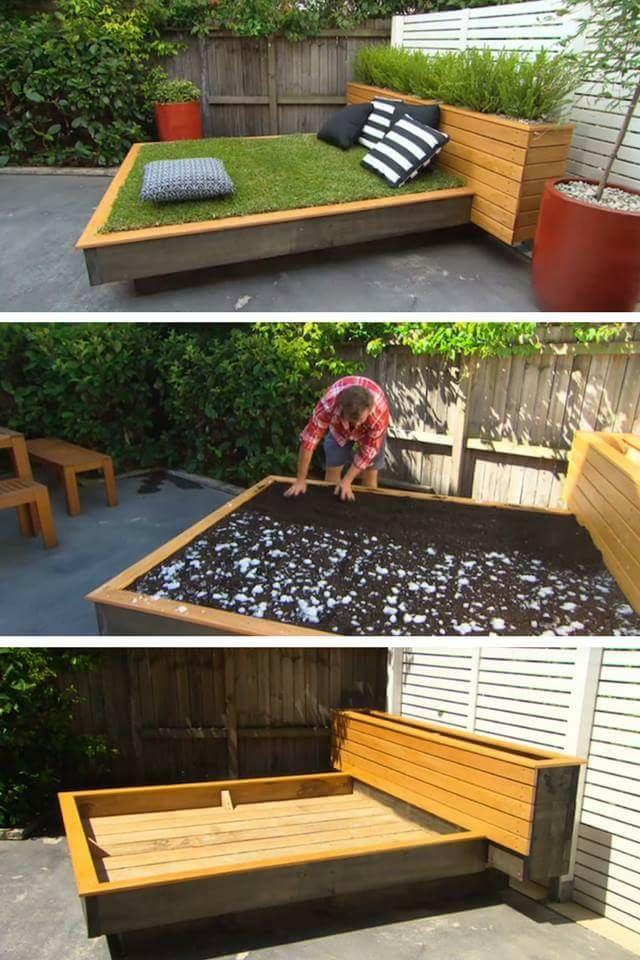 łóżko z trawy w ogrodzie :)