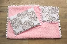 Poduszka + kocyk z pomponami - bawełna we wzory łowickie + plusz minky w róży...