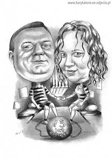 Pomysł na prezent na 15 rocznicę ślubu. Karykatura...