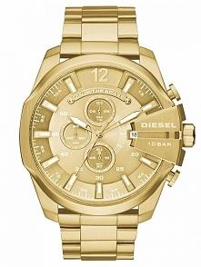 Diesel DZ4360  duży zegarek męski na bransolecie w kolorze złotym, wykonany z...