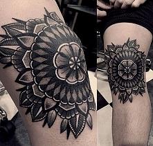 tatuaże na kolanach - mandala