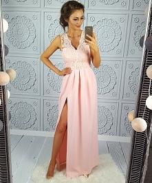 Pudrowa suknia Lidia Illumi...