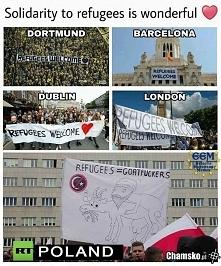 Powitanie imigrantów w różnych krajach xD