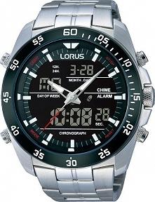 Lorus RW611AX9 stylowy zegarek sportowy na bransolecie, elektroniczny. Czasom...