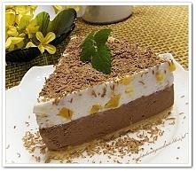 Sernik chałwowo- czekoladowy z brzoskwiniami (na zimno bez pieczenia) -przepi...