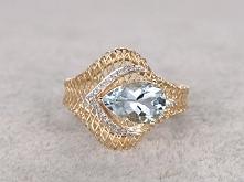 1.45ctw Pear Cut Aquamarine Engagement Ring Diamond Wedding Ring 14k Rose Gold Blue Gemstone Filigree set
