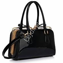 Lakierowana czarna elegancka torebka Torebka wizytowa wykonana z materiałów w...