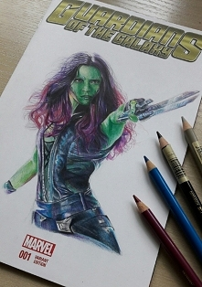 Kolejne zamówienie skończone- Gamora ze Strażników Galaktyki Rysunki/portrety...