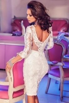 Sukienka koronkowa wesele poprawiny biała tuba