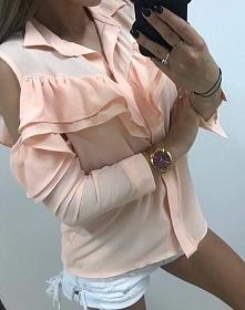 Pudrowa koszula, ramiona cut out <3 w dwóch rozmiarach: S/M i L/XL <3