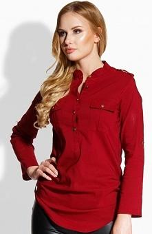 Envy me EM503 koszula bordowa Elegancka koszula, zapinana z przodu na guziki, długi rękaw z mozliwościa podpięcia