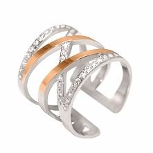 Megaaaa stylowy pierścionek ze srebra i złota z cyrkoniami Exclusive 467. Kli...