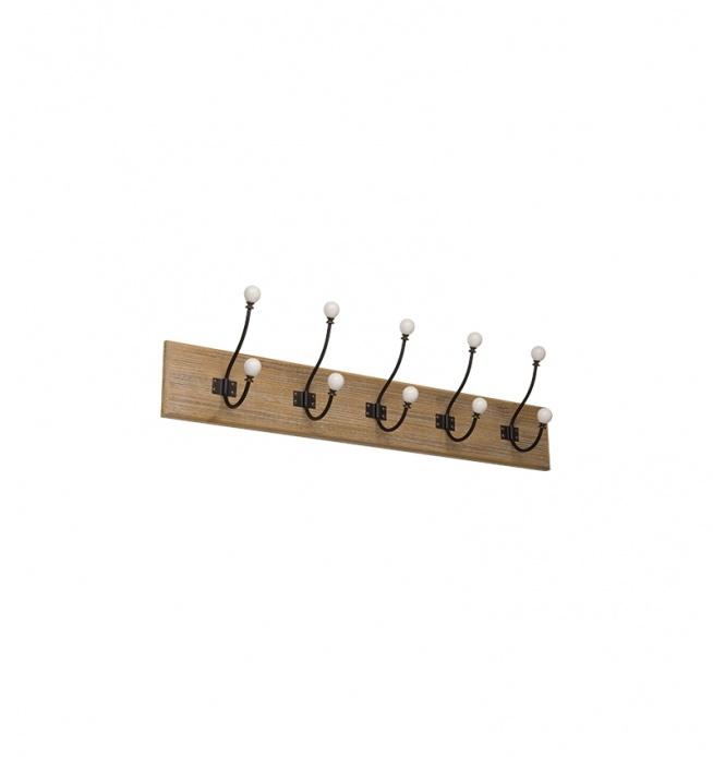Wieszak metalowy 5 HAKÓW drewniany w stylu retro . Drewno przecierane na kolor biało-szary. Haki metalowe czarne z białą porcelanową główką. Z tyłu wieszak posiada uchwyt do powieszenia.  Przepiękny wieszak łazienkowy, wieszak na korytarz lub do kuchni.  wymiar samego drewna 75x12 cm  Uwaga ! Odcienie na wieszakach mogą się nieznacznie różnić między sobą. Ewentualne sęki, słoje, przecierki nie będą w 100% identyczne na każdym wieszaku.