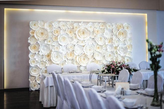 ściana Dekoracyjna Z Papierowych Kwiatów Dekoracja Sali Wesel Na