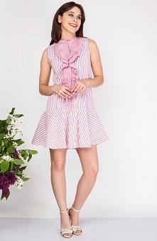Milu by Milena Płatek MP366 sukienka czerwona Urocza sukienka w stylu marynarskim, luźny fason