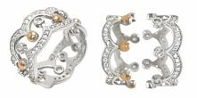 Pierścionek 2 w 1 ze srebra i złota z cyrkoniami Korona 823. Kliknij na zdjęc...