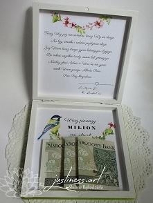 Prezent dla Młodej Pary - życzenia i pieniądze w drewnianym pudełeczku zamias...
