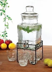 Słój 5 L z kranikiem na stojaku + 6 szklanek to idealny produkt do każdej kuc...
