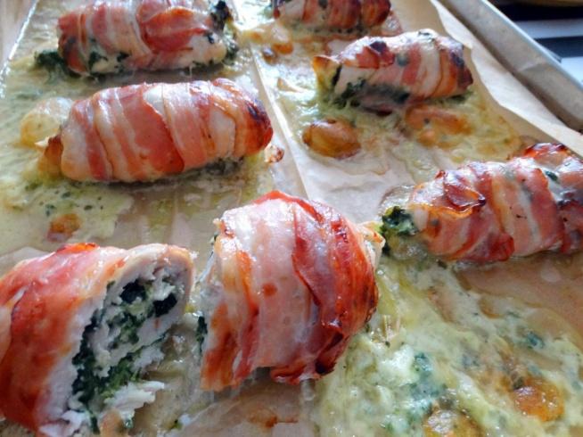 Roladki drobiowe ze szpinakiem i serem pleśniowym :)