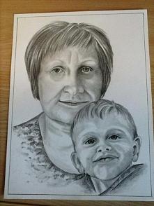portret babci z wnuczkiem  Kubusiem ;)