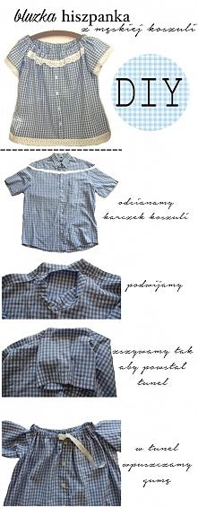 DIY bluzka hiszpanka z męskiej koszuli