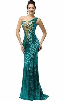Cekinowa szmaragdowa suknia z kwiatowym złotym wzorem. Suknia o obcisłym kroju. Suknia na karnawał, estradowa.  Suknia na jedno ramię. Pod spodem podszewka. Z tyłu wiązanie saty...