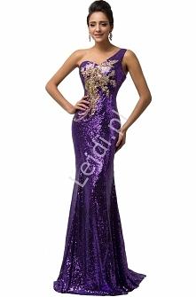 Cekinowa fioletowa suknia z kwiatowym złotym wzorem. Suknia o obcisłym kroju....