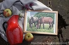 haft krzyżykowy - konie na pastwisku